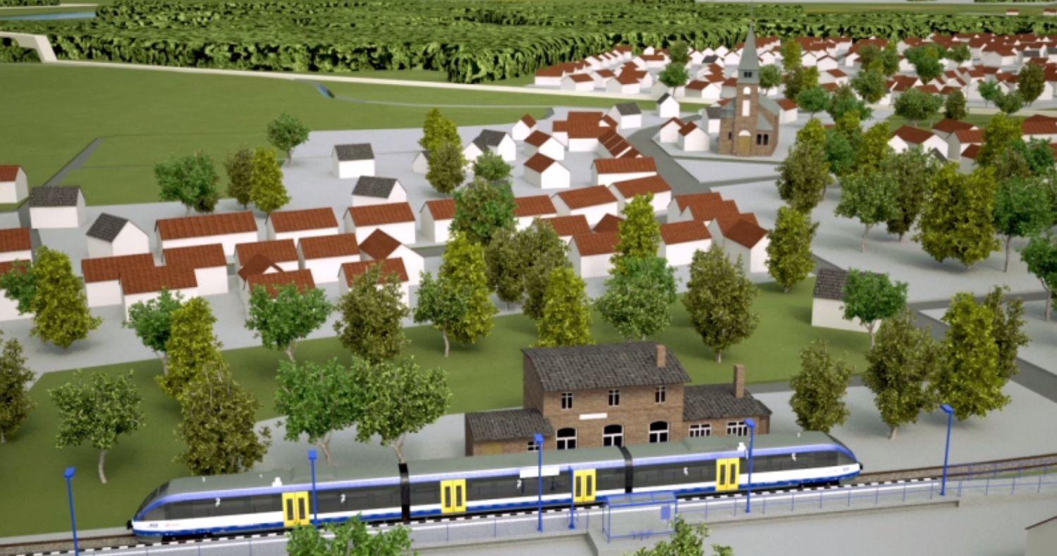 3D-Modell Reaktivierung Stammstrecke Heidekrautbahn, Grafik: NEB
